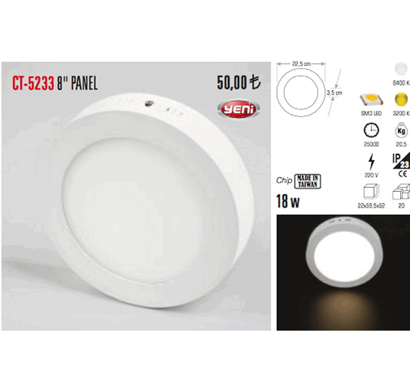 CT - 5233 8 PANEL LED ARMATÜR -8